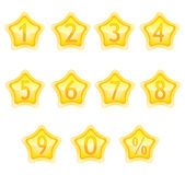 Numbers in the stars. Numbers in the yellow stars on a whithe Royalty Free Stock Photo