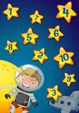 Numbers on stars with astronaut flying in the space  Stock Photo