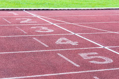 Numbers starting point on red running track,running track and green grass Royalty Free Stock Photo