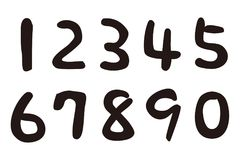 Numbers,  sumi calligraphy. Handwriting calligraphy, illustration Stock Photography