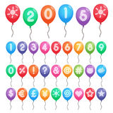 Numbers and symbols balloons Stock Photo