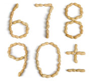 Numbers and Symbols Made of Peanuts Royalty Free Stock Image