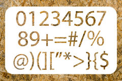 Numbers and symbols with OSB texture Royalty Free Stock Image