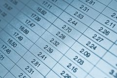 Numbers in table Royalty Free Stock Image