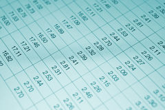 Numbers in table. Displayed on the computer monitor Royalty Free Stock Photo