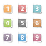 Numbers. Tabs with numbers 1 - 9 Stock Images