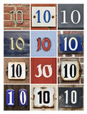 Numbers Ten. Collage of House Numbers Ten royalty free illustration