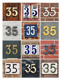 Numbers Thirty-five. Collage of House Numbers Thirty-five royalty free stock photos