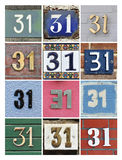 Numbers Thirty-one. Collage of House Numbers Thirty-one royalty free stock image