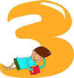 Numbers three. Kids and numbers three, illustration Stock Photography