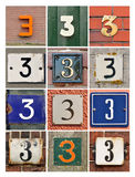 Numbers three Royalty Free Stock Photos