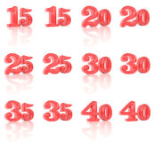 The numbers in the three-dimensional image 15 to 40. On a white background Royalty Free Illustration