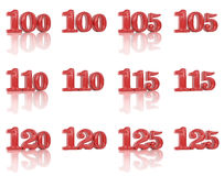 The numbers in the three-dimensional image 100 to 125 Royalty Free Stock Image