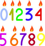 The numbers 0 to 9 with candles Royalty Free Stock Image