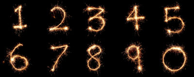 Numbers 1 to 10 created using a sparkler. On a black background, suitable for cutting out to create other numbers as needed Royalty Free Stock Photography