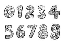 Numbers 0 to 9 from decorated. Royalty Free Stock Image