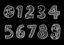 Numbers 0 to 9 from decorated. Stock Photo