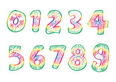 Numbers 0 to 9 from decorated. Stock Images