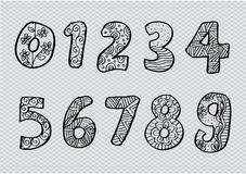 Numbers 0 to 9 from decorated. Royalty Free Stock Photography