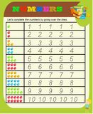 Numbers from 0 to 9, handwriting tracing practice sheet, writing training for children, kids preschool activity, educational game, vector illustration
