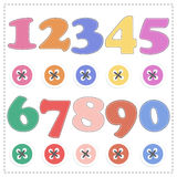 The numbers from 1 to 9, plush mathematics Vector cartoon Royalty Free Stock Images