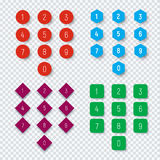 Numbers from 0 to 9 on a round, square, hexagonal and rhombic bu Royalty Free Stock Photos