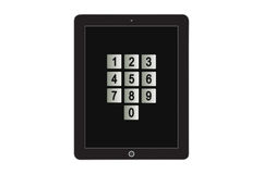 Numbers from 0 to 9 on screen tablet Stock Image