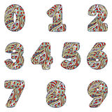 Numbers from 0 to 9. Set colorful figures of doodles patterns. Numbers from 0 to 9. Set colorful figures of doodles patterns isolated on a white background Royalty Free Stock Photos