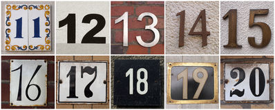 Numbers 11 to 20 Stock Image