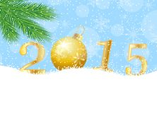 Numbers 2015 on to snow. Vector  illustration Stock Photos