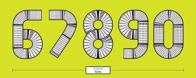 Numbers tower geometric style in a set 67890. Vector graphic numbers in a set 6,7,8,9,0, with tower line design style Royalty Free Stock Photos