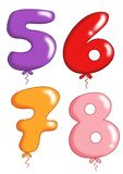 Numbers - toy balloons 2. Illustration of colored numbers with the form of toy balloons Royalty Free Stock Images