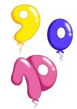 Numbers - toy balloons 3. Illustration of colored numbers with the form of toy balloons Stock Photography