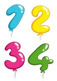 Numbers toy balloons 1 Royalty Free Stock Photo