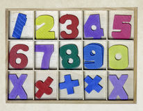 Numbers toy. Wooden numbers toy from above Stock Photography