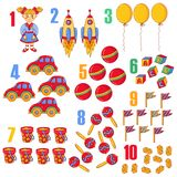 Numbers with toys doodle colorful icons. Collection educational illustration for children stock illustration