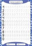 Numbers 0-9. Tracing Worksheet for kids. Preschool worksheet, practicing motor skills - tracing dashed lines. A4 purple. Vector stock illustration