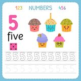 Numbers tracing worksheet for preschool and kindergarten. Writing number Five. Exercises for kids. Mathematics games. Vector illustration Royalty Free Stock Image