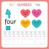 Numbers tracing worksheet for preschool and kindergarten. Writing number Four. Exercises for kids. Mathematics games. Vector illustration Stock Photos