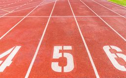 Numbers of track lanes royalty free stock images