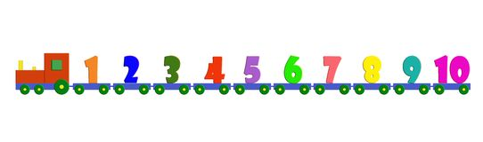 The numbers train. Colored numbers train with locomotive and carriage Royalty Free Stock Photography