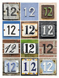Numbers Twelve. Collage of House Numbers Twelve Royalty Free Stock Photography