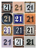 Numbers Twenty-one. Collage of House Numbers Twenty-one Royalty Free Stock Images