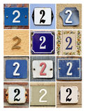 Numbers Two. Collage of House Numbers Two Stock Image