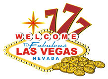 Numbers 777 with two objects. Yellow signboard of Las Vegas with cents and numbers 777 Stock Image