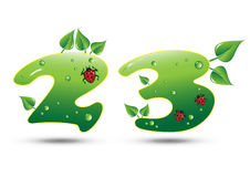 Numbers Two and Three Green Nature Concept Royalty Free Stock Photography