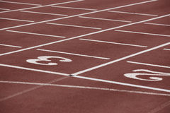 Numbers two and three signpost in a athletic running track Royalty Free Stock Image