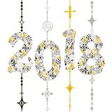 Numbers two, zero, one, eight of snowflakes on garlands. Vector Stock Photos