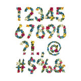 Numbers, Vector Colorful Flower Font For Your Design. Vector illustration. Grotesque style. Floral alphabet. Numbers and punctuation marks stock illustration