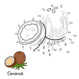 Numbers vector game: fruits and vegetables (coconut) Royalty Free Stock Images